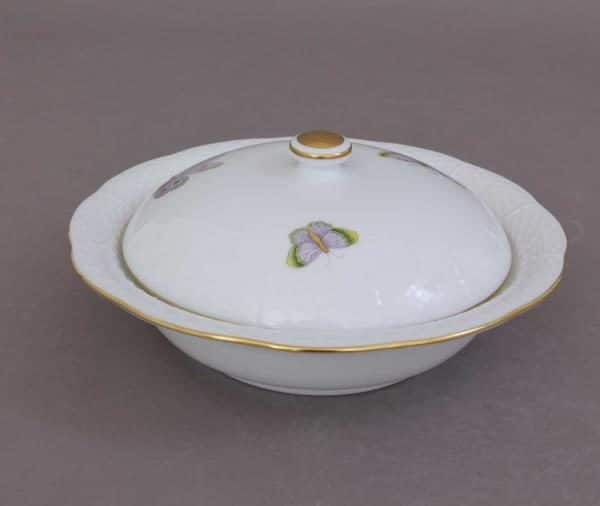 Herend Serving Dish with Button Knob - Royal Garden Butterflies William & Kate 0.5 content / 20.5 cm diameter 00074-0-15 EVICTP1