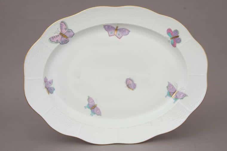 00101-0-00 EVICTP2 00101-0-00 EVICTF2 00101-0-00 EVICT2 Royal Garden Herend Porcelain Oval Dish LArge Turkey Platter