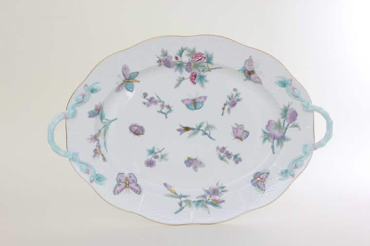 00120-0-00 EVICT2 Oval Dish with Handle Royal Garden Herend Fine Porcelain