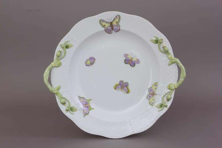 00172-0-00 EVICTP1 Royal Garden Butterfly Cake Plate Branch Knob