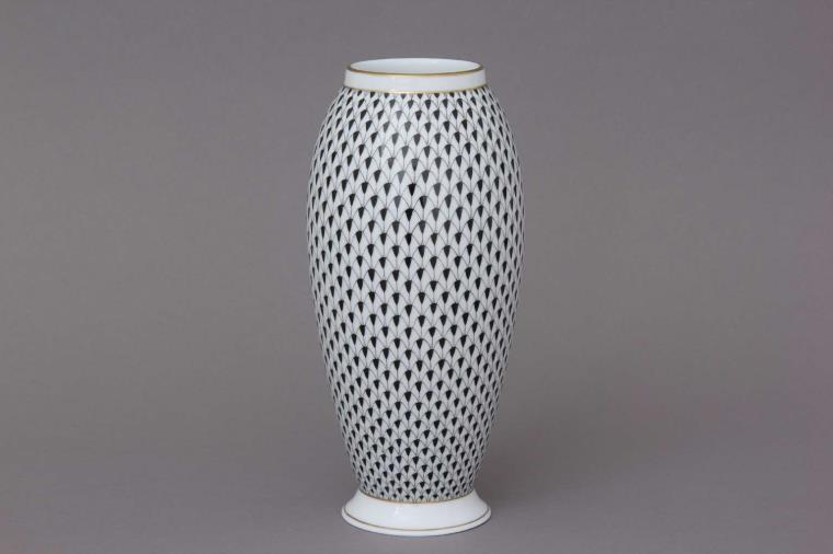 07011-0-00 VHN Vase, Large - Fishnet Black Hand painted in Hungary - Available in 14 fishner decors