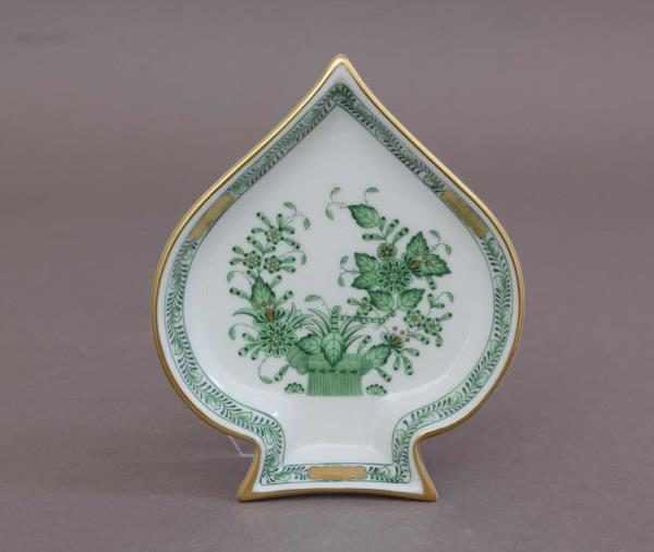 Indian Basket Green Herend Spades Tray 07690-0-00 FV