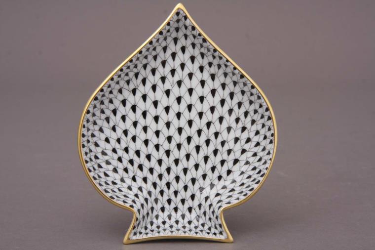 Herend Black Fishnet Spades Tray 07690-0-00 VHN
