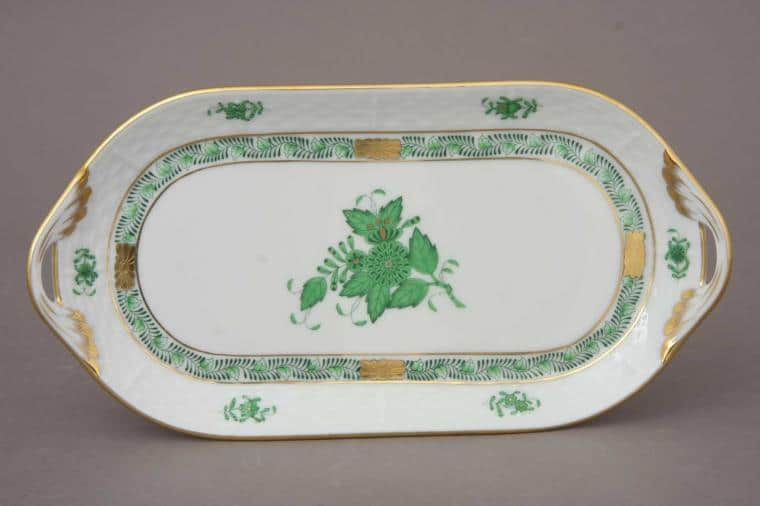 Small Sandwich Dish Chinese Bouquet Green Herend Fine China