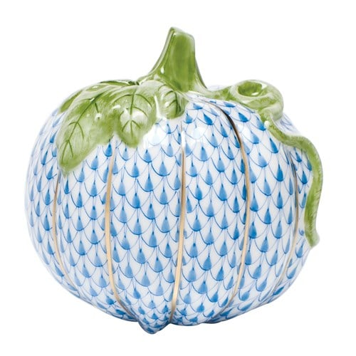 Herend Porcelain Figurine Pumpkin 05514 Fishnet Bluejpg