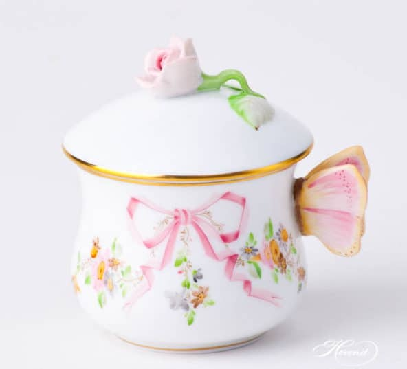 eden-pink-creamer with butterfly handle and rose knob