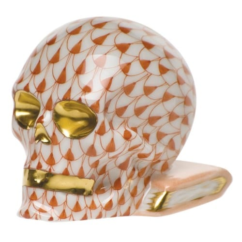 Herend Skull Figurine Fishnet Rust