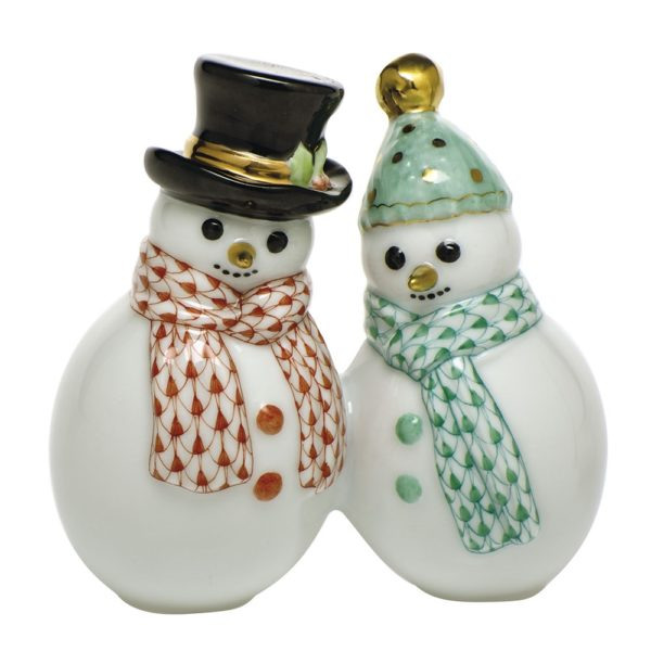 Herend Snowman Couple Figurine FIshnet Rust and Green