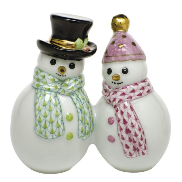 Herend Snowman Couple - Fishnet Key Lime and Raspberry Adorable figurine of two small snowmen with fishnet blue and pink scarfs. Perfect gift for the holidays.