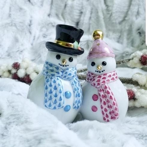 Herend Snowman Couple Figurine Fishnet