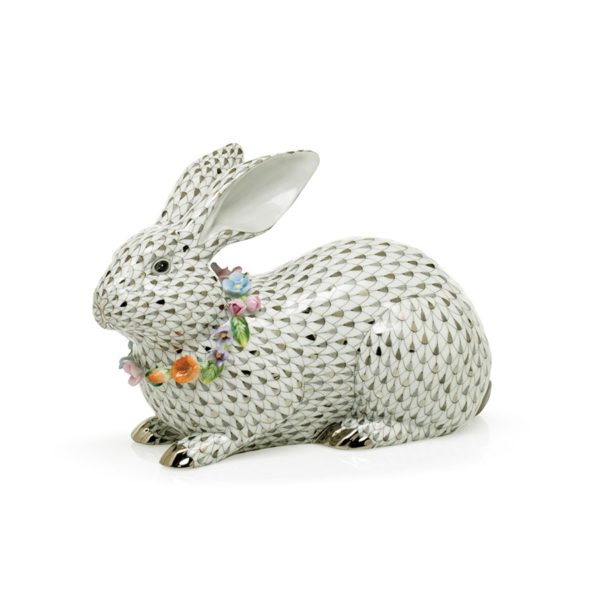 herend+reserve+grey+bunny+with+garland