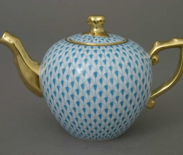 Herend Fishnet Turquoise Teapot 20607-0-06