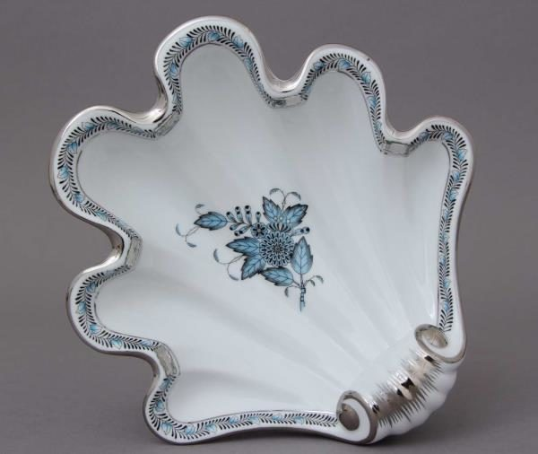 Herend-Chinese-Bouquet-Turquoise-Platinum-Shell