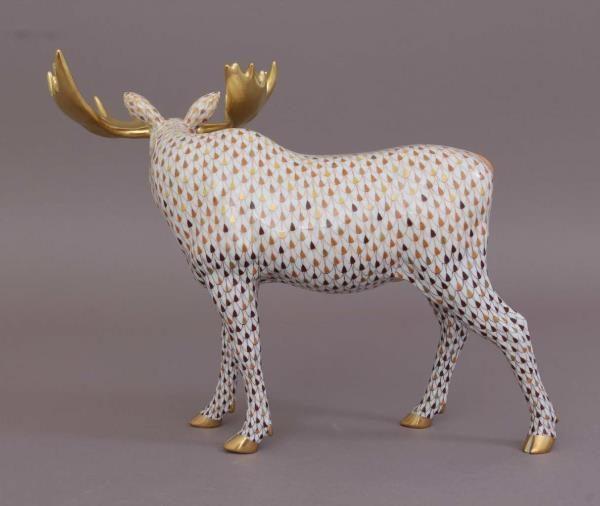 16117-0-00 VHSP138-Herend-Porcelain-Moose-Animal-Figurine