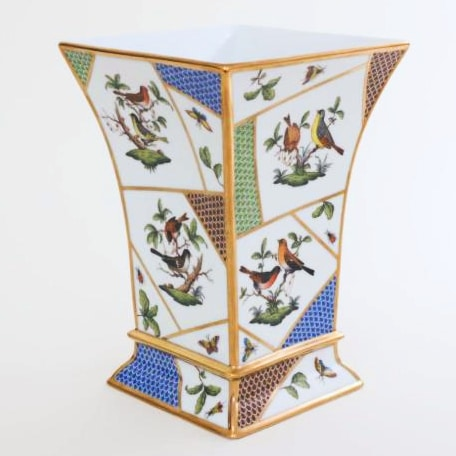 Herend Rothschild Bird Fishnet Vase This was designed for the 160th anniversary of Rothschild Bird decor. The vase has been hand-painted with various versions of the world-famous Herend bird decor and different colours of fishnet painting