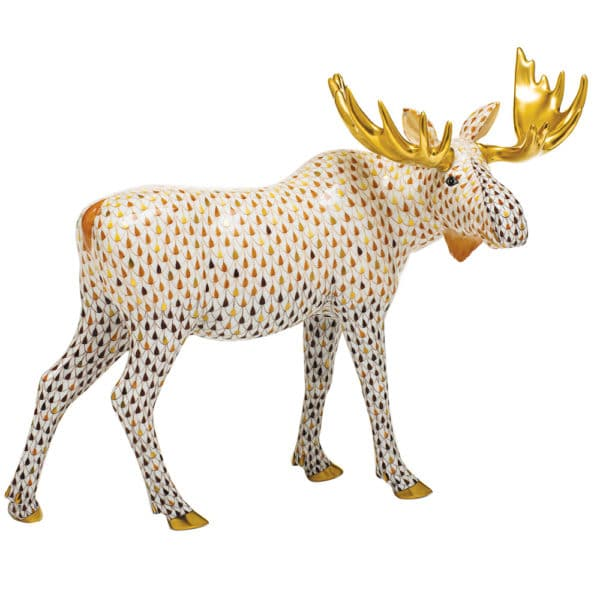 Herend-Porcelain-Moose-Animal-Figurine