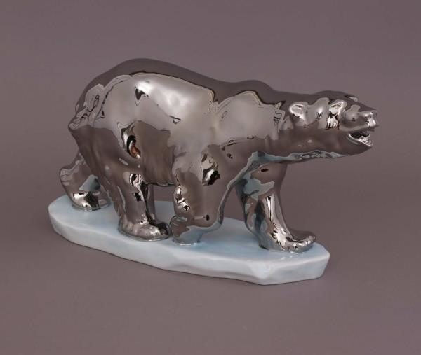 Polar Bear Platinum Figurine 05267 PLATI Herend's classic figurine in a modern design platinum realistic hand-painted figurine which makes a figurine feel like it's made of metal. Made in Hungary in Herend Porcelain Manufactory