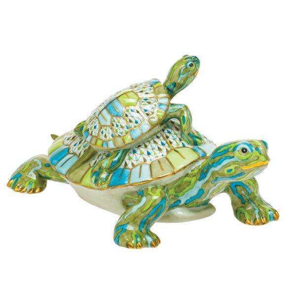 Herend-Turtle-Pair-Animal-Figurine-Fishnet-ReserveVHS137-15837-0-00-2