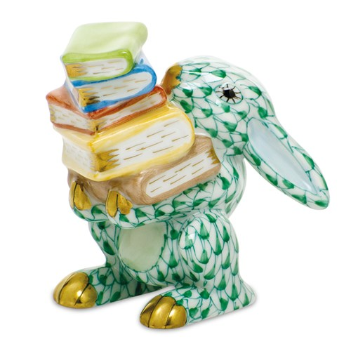 herend+scholarly+bunny,+green