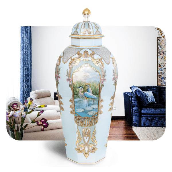 Birds-Of-Fidelity-Heron-Large-Vase