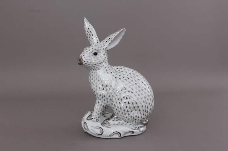 Herend Large Rabbit Figurine Fishnet Platinum(3)
