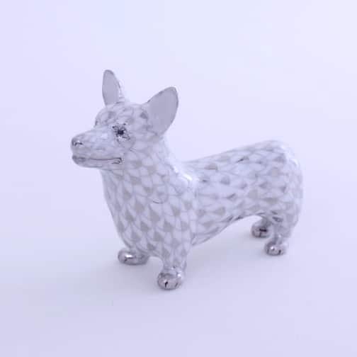 Herend-Corgi-Dog-Figurine-Fishnet-Platinum-05390000PTVH