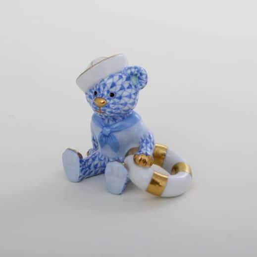 Herend-Sailor-Bear-Figurine-Fishnet-Blue-16054000VHB
