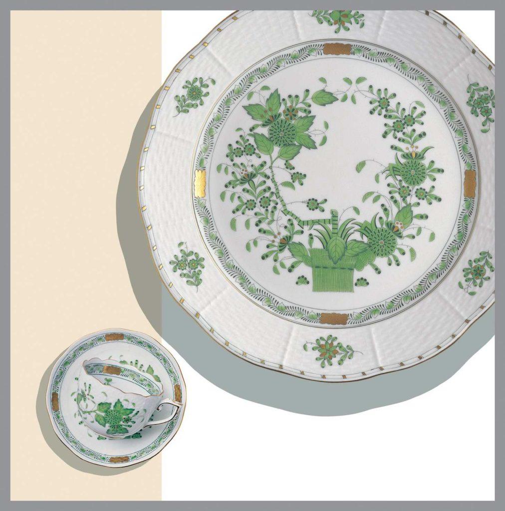 Herend-Indian Basket-Green-Dinner-Set